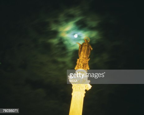 Statue in Rome at Night : Stock Photo