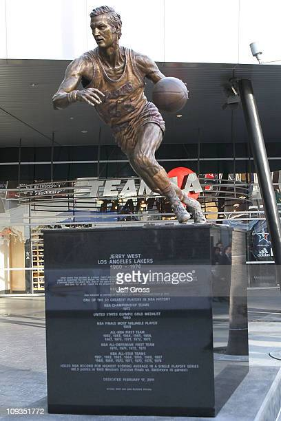A statue is displayed outside Staples Center for former Los Angeles player and general manager Jerry West on February 20 2011 in Los Angeles...