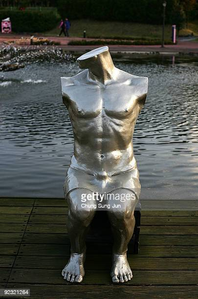 A statue is seen at the theme park 'Love Land' on October 24 2009 in Jeju South Korea Love Land is an outdoor sexthemed sculpture park which opened...