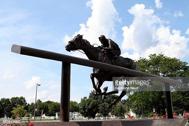 A statue of 2006 Kentucky Derby winner Barbaro sits outside Churchill Downs home of The Kentucky Derby on July 19 2015 in Louisville Kentucky