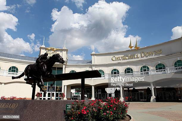 A statue of 2006 Kentucky Derby winner Barbaro sits outside Churchill Downs home of The Kentucky Derby on July 19 2015 in Louisville Kentucky