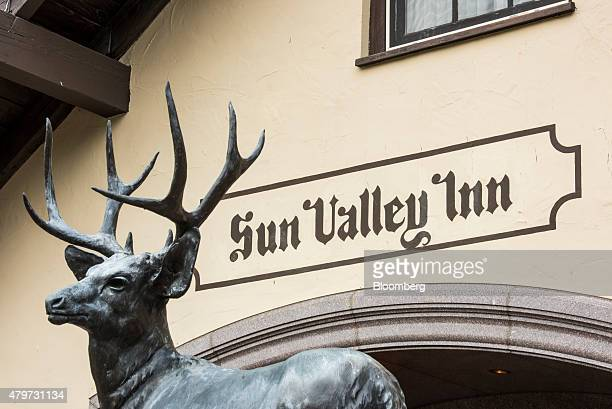 A statue of a deer stands in front of the entrance to the Sun Valley Inn ahead of the Allen Co Media and Technology Conference in Sun Valley Idaho US...