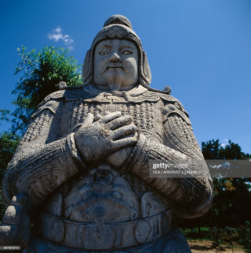 Statue of a general along the spirit way Ming Dynasty tombs Changping district Beijing China