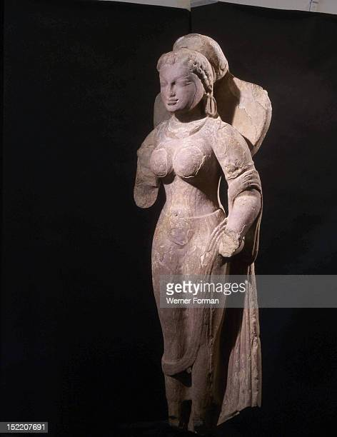 Statue of a goddess possibly Parvati standing in samapada The combination of Gupta style in features and clothing and earlier Kushan style manifested...