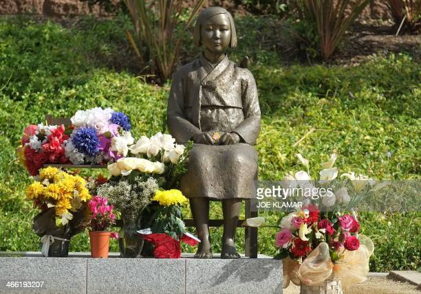 A statue of a Korean woman is seen at the Korean Women Memorial in Glendale California on January 31 2014 Glendale erected the approximately $30000...