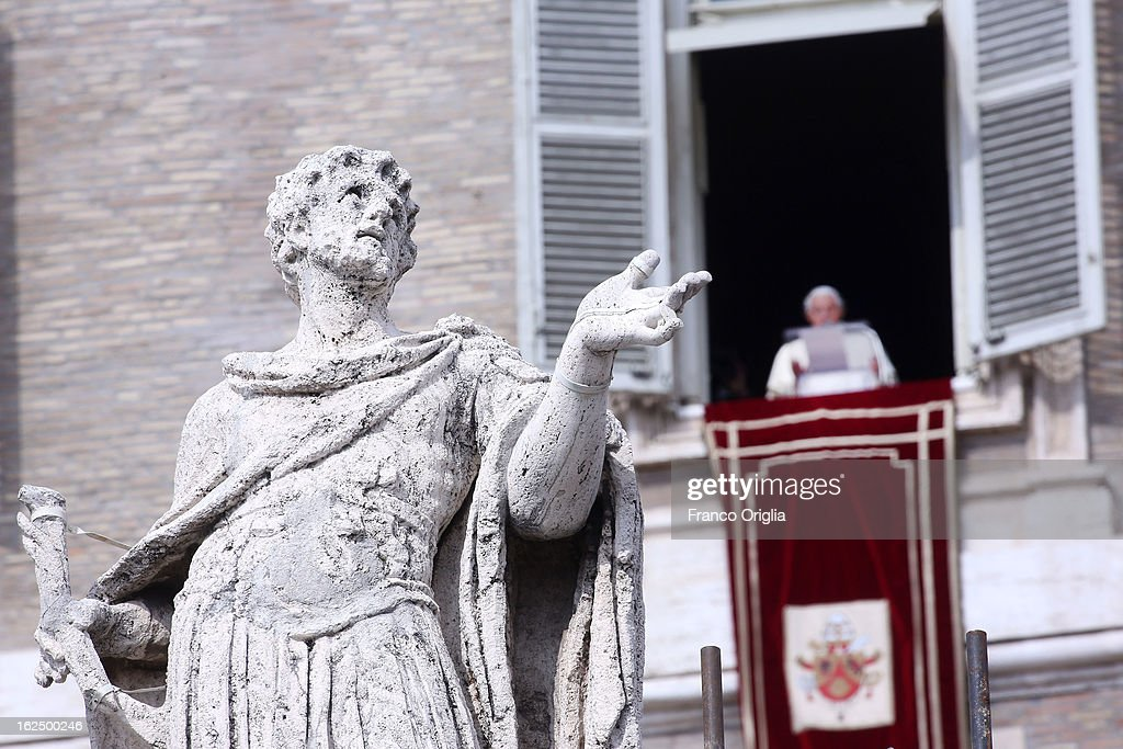 A statue of a saint stands in St. Peter's colonnade as Pope Benedict XVI delivers his last Angelus Blessing from the window of his private apartment to thousands of pilgrims gathered in Saint Peter's Square on February 24, 2013 in Vatican City, Vatican. The Pontiff will hold his last weekly public audience on February 27, 2013 before he retires the following day. Pope Benedict XVI has been the leader of the Catholic Church for eight years and is the first Pope to retire since 1415. He cites ailing health as his reason for retirement and will spend the rest of his life in solitude away from public engagements.