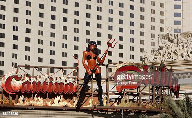A statue of a sexy bikiniclad devil woman holding a pitchfork stands atop the Cantina Diablo on the famed Las Vegas Strip as seen in this 2009 Las...