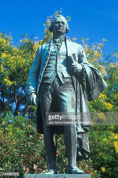 Statue of Alexander Hamilton overlooking the Great Falls in Paterson New Jersey