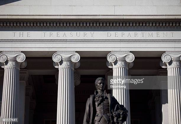 A statue of Alexander Hamilton stands in front of the US Department of the Treasury in Washington DC US on Monday Oct 19 2009 The Treasury rolled out...