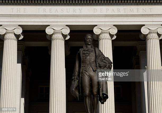 A statue of Alexander Hamilton the first Treasury Secretary on the southern steps of the Treasury building in Washington DC