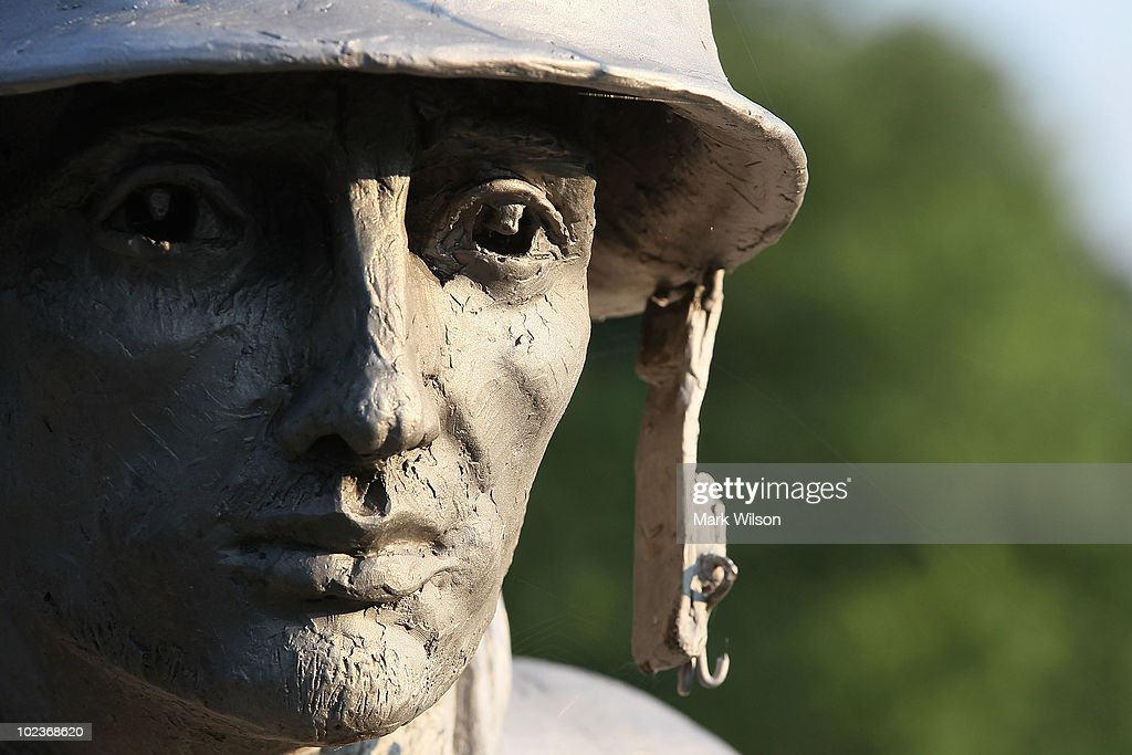 A statue of an American soldier stands at the Korean War Memorial on June 24 2010 in Washington DC Sixty years ago today North Korean troops marched...