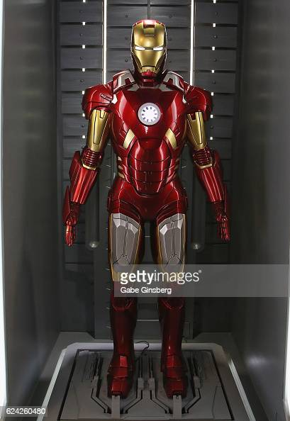 A statue of an Iron Man suit on display at Marvel Avengers STATION at the Treasure Island Hotel Casino on November 18 2016 in Las Vegas Nevada