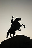 Statue of Andrew Jackson, low angle view, silhouette