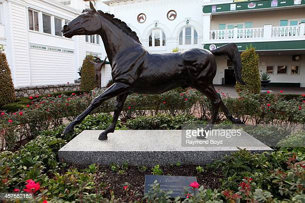 Statue of Aristides winner of the first Kentucky Derby in 1875 sits in the Churchill Downs Paddock Pavilion at Churchill Downs home of the Kentucky...