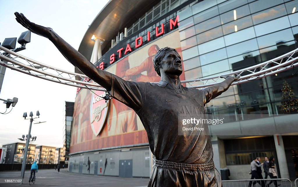 Statue of Arsenal Legend Tony Adams is unveiled at Emirates Stadium, one of three iconic statues to be placed at the Emirates Stadium home of Arsenal Football Club, on December 9, 2011 in London, England.