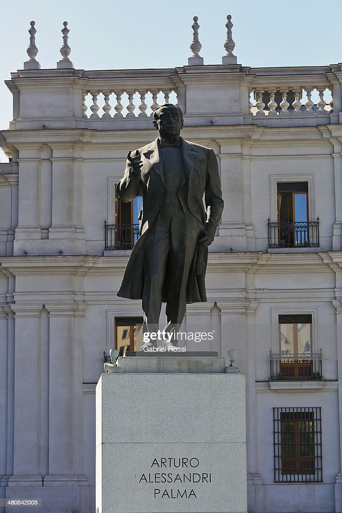 Statue of Arturo Alessandri Palma on March 17, 2014 in Santiago, Chile.