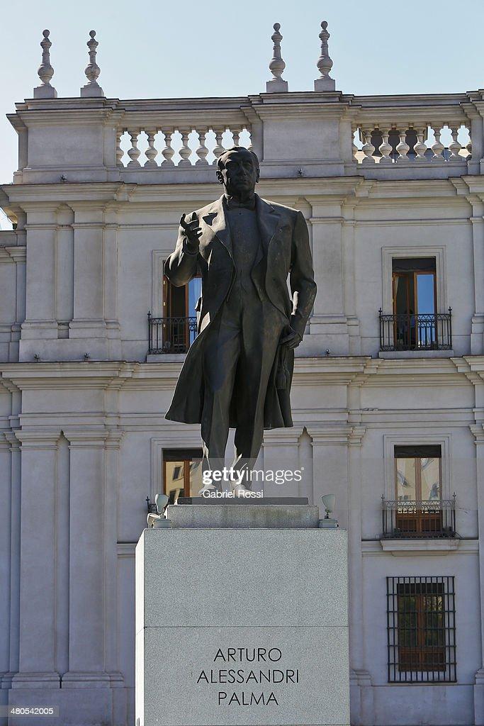 Statue of Arturo Alessandri Palma on March 17, 2014 in Santiago, Chile.