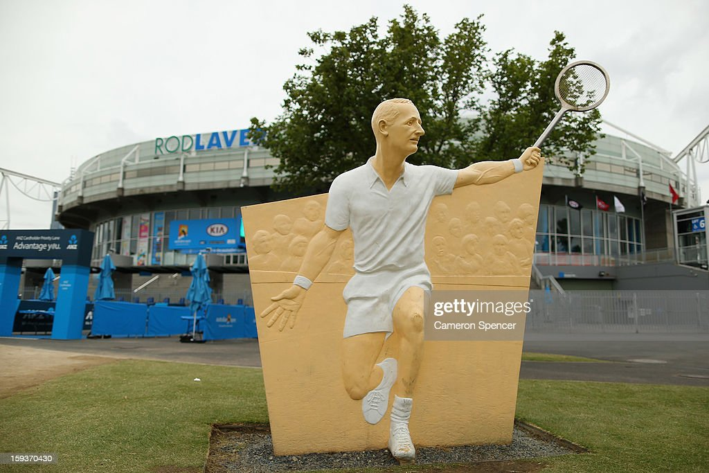 A statue of Australian tennis legend, Rod Laver is seen outside Olympic Park ahead of the 2013 Australian Open at Melbourne Park on January 13, 2013 in Melbourne, Australia.