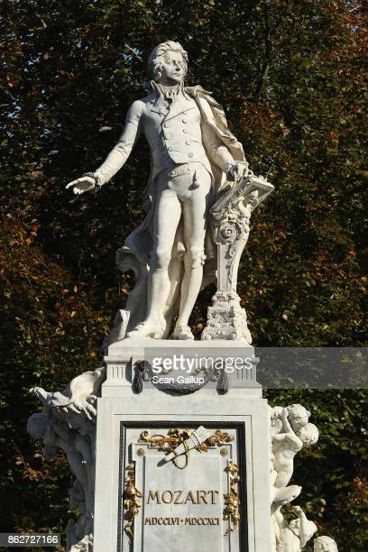 A statue of Austrian composer Wolfgang Amadeus Mozart stands in Burggarten park on October 16 2017 in Vienna Austria Vienna is among Europe's most...