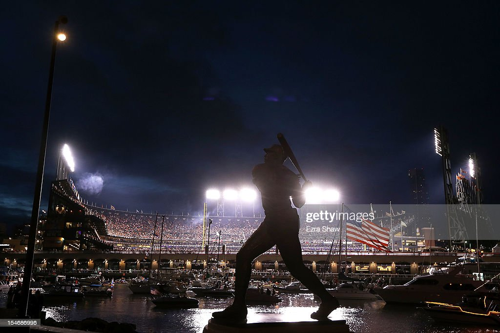 A statue of baseball legend Willie McCovey is seen outside of McCovey Cove during Game One between the San Francisco Giants and the Detroit Tigers in the Major League Baseball World Series at AT&T Park on October 24, 2012 in San Francisco, California.