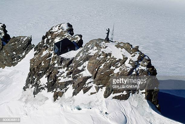 Statue of Christ of the Summits on Balmenhorn Monte Rosa massif Piedmont Italy