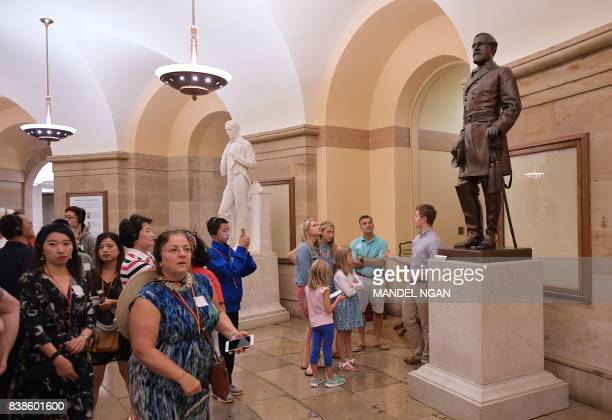 A statue of Confederate commanding general Robert E Lee is seen in the crypt of the US Capitol in Washington DC on August 24 2017 With moves to...