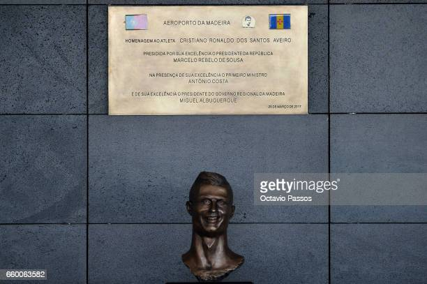 Statue of Cristiano Ronaldo at the ceremony at Madeira Airport to rename it Cristiano Ronaldo Airport on March 29 2017 in Santa Cruz Madeira Portugal