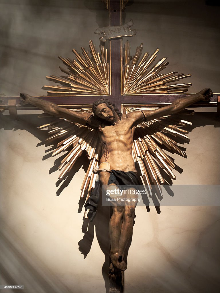 statue of crucifixion of jesus christ in a chapel in italy stock