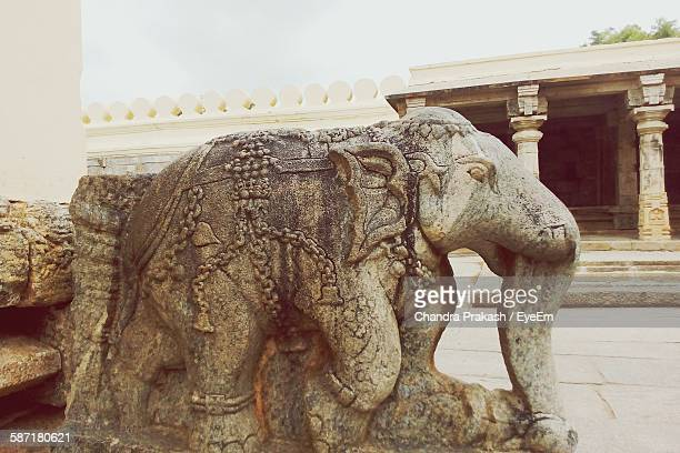 Statue Of Elephant In Historic Temple