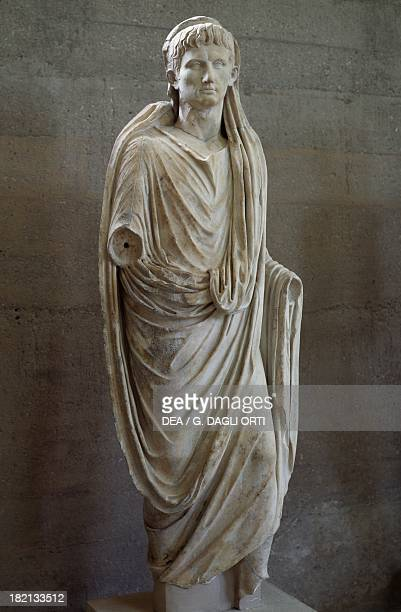 Statue of Emperor Augustus artefact uncovered in Basilica Julia Corinth Greece Roman Civilisation 1st century Corinto Museo Archeologico