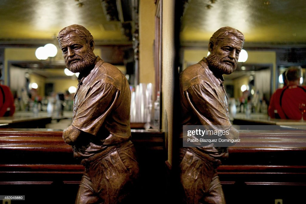A statue of Ernest Hermingway stands in 'El Rincon de Hermingway' bar during the sixth day of the San Fermin Running Of The Bulls festival on July 11, 2014 in Pamplona, Spain. The annual Fiesta de San Fermin, made famous by the 1926 novel of US writer Ernest Hemingway 'The Sun Also Rises', involves the running of the bulls through the historic heart of Pamplona.