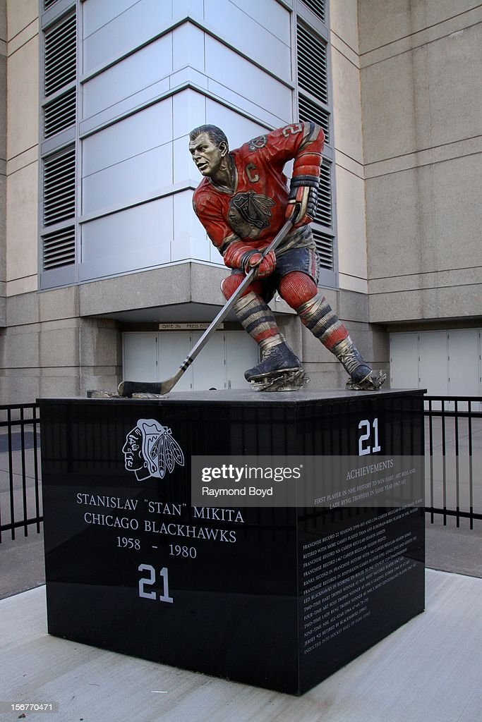 Statue of former Chicago Blackhawks hockey player Stan Mikita, sits outside the United Center in Chicago, Illiinois on AUGUST