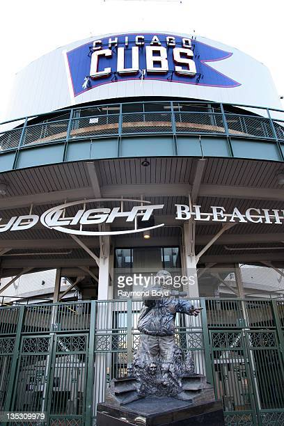 A statue of former Chicago Cubs broadcaster Harry Caray sits outside the center field bleachers at Wrigley Field home of the Chicago Cubs in Chicago...