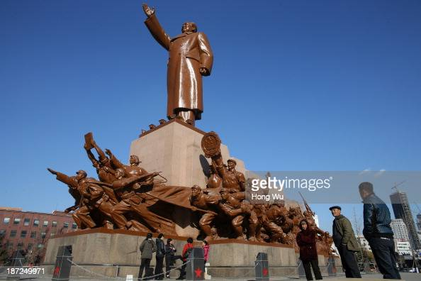 A statue of former Chinese leader Mao Zedong is seen at the Zhongshan Square on November 7 2013 in Shenyang China