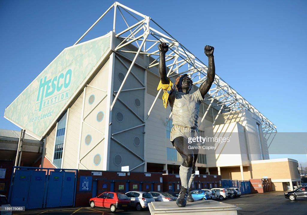 Statue of former Leeds United captain Billy Bremner outside Elland Road Stadium on January 9, 2013 in Leeds, United Kingdom.