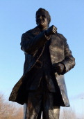 Statue of former Leeds United manager Don Revie outside Elland Road Stadium on January 9 2013 in Leeds United Kingdom