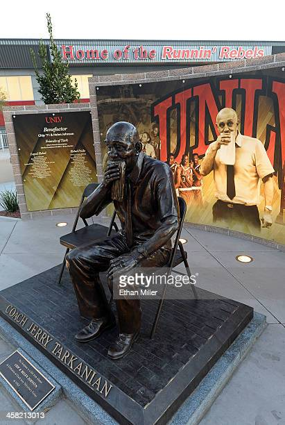 A statue of former UNLV basketball coach Jerry Tarkanian outside the Thomas Mack Center at UNLV before a basketball game between the Sacred Heart...