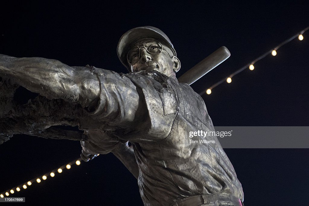 A statue of former Washington baseball player Frank Howard appears near the centerfield gate at Nationals Park.