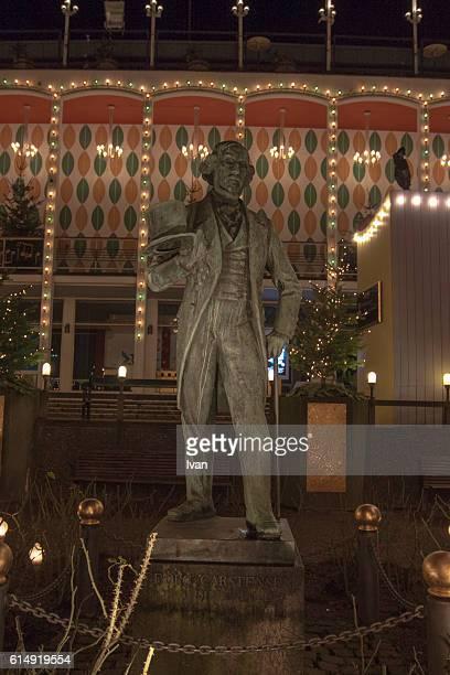 Statue of Georg Carstensen in the Tivoli Gardens at Night