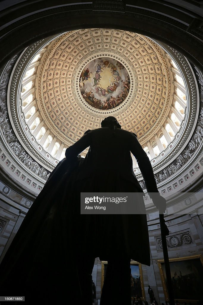 A statue of George Washington stands in the Rotunda of the U.S. Capitol August 28, 2012 on Capitol Hill in Washington, DC. It has been reported that the dome of the Capitol has 1,300 known cracks and breaks leaking water to the interior of the Rotunda and needs restorations. The Senate Appropriations Committee has approved $61 million before the August recess to repair the structure. On Monday, Committee on Rules and Administration chairman Sen. Charles Schumer (D-NY) called on Speaker of the House Rep. John Boehner (R-OH) to support the repairs.