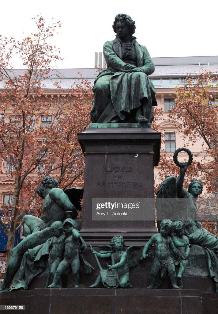 A statue of German composer Ludwig van Beethoven (1770 - 1827) in Beethoven Platz, Vienna, 18th November 2010.