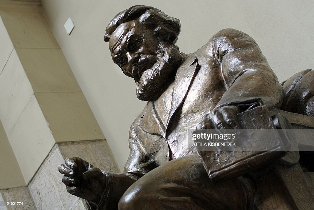 A statue of German philosopher Carl Marx is seen in the building of the Corvinus University in Budapest on September 4 2014 The 'Corvinus' was...