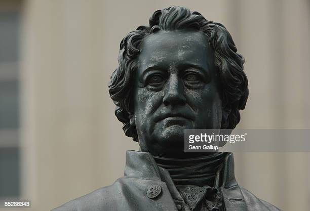 A statue of German philosopher Johann Wolfgang von Goethe stands on June 4 2009 in Weimar Germany Goethe Germany's greatest literary figure spent...