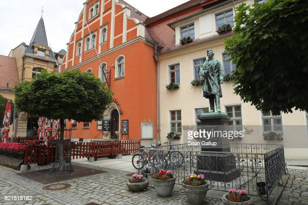 A statue of German sculptor Ernst Rietschel stands on Market Square on July 24 2017 in Pulsnitz Germany Linda W a German teenager from Pulsnitz was...