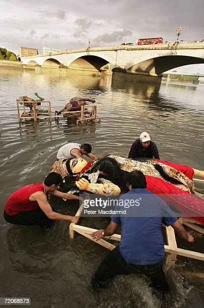 A statue of Goddess Durga is immersed in the River Thames on October 2 2006 in London This is the first time that The Port of London Authority has...