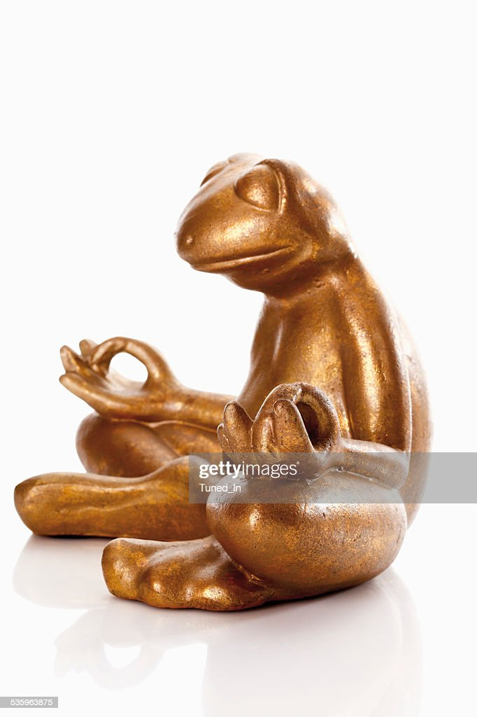 Statue of golden frog against white background : Stock Photo