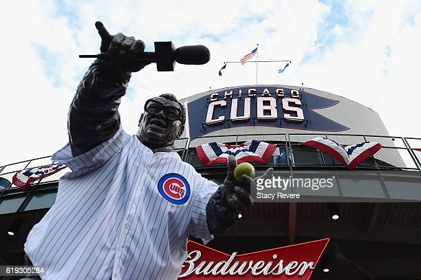 A statue of Harry Caray stands outside Wrigley Field before Game Five of the 2016 World Series between the Chicago Cubs and the Cleveland Indians at...