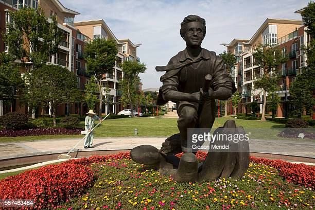 A statue of Harry Potter riding on his broomstick is a central part of a housing development in Thames Town a recently constructed typical English...