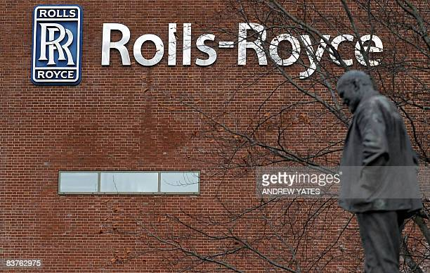 A statue of Henry Royce is pictured at the Rolls Royce factory in Allenton Derby in central England on November 20 2008 RollsRoyce the British maker...