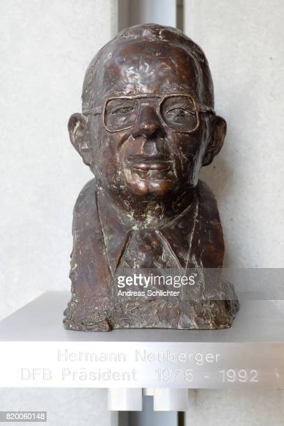statue of Hermann Neuberger at DFB Headquarter on July 19 2017 in Frankfurt am Main Germany